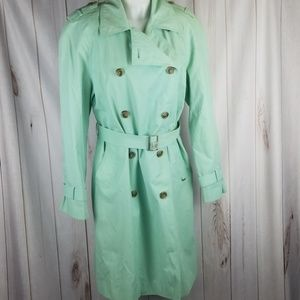 Anne Klein Womens 10 Long Rain Trench Coat Button